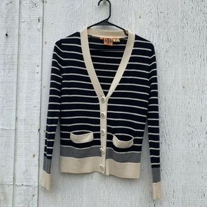 Tory Burch Blue/Beige Striped Wool Cardigan XS